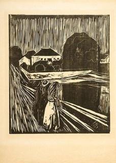 The Grils on the bridge, 1918, de Edvard Munch <br />Foto Iara Venanzi  [Acervo Itaú Cultural]
