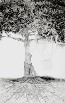 Mônica Rubinho, Sem título, 2010 (caneta sobre tecido, colagem, tricô, 75 x 120 cm)  Mônica Rubinho, Sem título, 2010 (caneta sobre tecido, colagem, tricô, 75 x 120 cm)