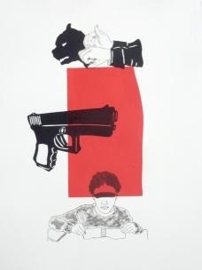 Rosana Paulino, Corrida 2 , 2010 (monotipia sobre papel, 53,5 x 39,5 cm)