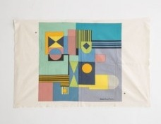 "Multi-colored Roberto Burle Marx textile with printed signature. [Dimensions below are for the fabric itself, the print measures 31.5"" x 30""] 51"" L x 33.5"" W / 129.5cm L x 85.1cm W.<br />Joe Kramm  [R & Company]"