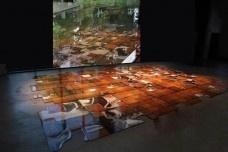 """""""Mercúrio"""" e projeção  42 módulos de Imagens adesivadas sobre madeira"""