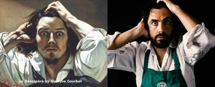"""""""A equipe da Starbucks escreveu errado seu nome novamente"""", versão de """"O desesperado"""", autorretrato de Gustave Courbet"""