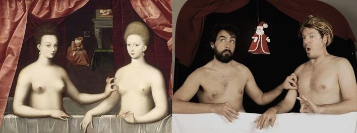 Gabrielle d'Estrées e uma de suas irmãs, de autor anônimo, c.1594, Museu do Louvre