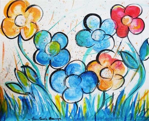 Seis flores coloridas