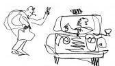 Homem com cigarro à Bogart vendo se o táxi está livre (1983)