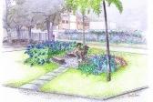 """Jardins do Centro de Referência Ambiental Rogério Marinho, croqui da """"Pátio da Reflexão"""""""