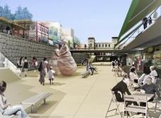 Perspectiva do projeto de requalificação do Largo do Mercado de Florianópolis<br />Vigliecca e Associados