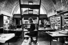 Doshi in his studio, Sangath<br />Photo courtesy of VSF