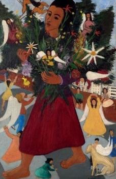 """Djanira da Motta e Silva, """"Vendedora de flores"""", 1947. Óleo sobre tela. 100,5 x 65. Doação Orandi Momesso, 2015<br />Foto Eduardo Ortega  [Acervo Museu Assis Chateaubriand]"""