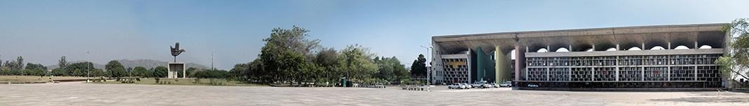 "Monumento ""Mão Aberta"", Chandigarh, Índia, arquiteto Le Corbusier. Fotomontagem Victor Hugo Mori, 2010"