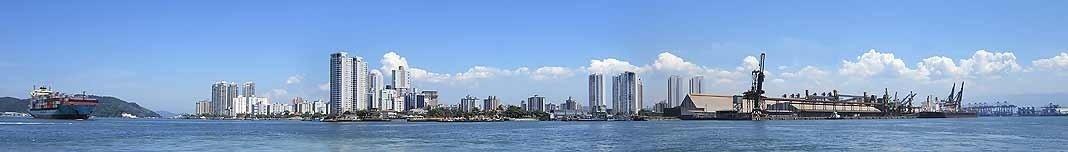 Forte da Barra, Ponta da Praia e Porto de Santos. Foto Victor Hugo Mori