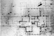 Emil Bach House, planta segundo pavimento, oeste e oeste, North Sheridan Road, Chicago, Estados Unidos, 1915. Arquiteto Frank Lloyd Wright<br />Desenho original  [Library of Congress / U.S. Government]