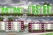 Perspectiva Fachadas – estudo cromático. Concurso Habitação para Todos. CDHU. Edifícios de 4 pavimentos - Menção honrosa.<br />Autores do projeto  [equipe premiada]