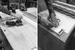 Materioteca, montagem: acabamento com lixadeira orbital e marcação da corrediça<br />Foto Isabella Simões e Sofia Lundgren  [Acervo Fabricação, tectônica e projeto: catálogo de encaixes em madeira]
