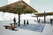 O padrão de rendilhado aplicado a paginação de piso se repete em vários elementos como, por exemplo, no caramanchão de concreto e madeira
