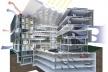 Centro de Referência em Empreendedorismo do Sebrae-MG, corte perspectivado demonstrando a estrutura integral do conjunto, 3º lugar. Arquiteto Enrique Hugo Brena, 2008<br />Desenho escritório
