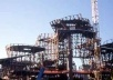 Estrutura de aço em construção: módulos triangulares