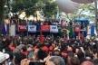 Lula fazendo discurso sobre o palanque ao lado do Sindicato de Metalúrgicos do ABC, São Bernardo do Campo, 7 de abril de 2018<br />Foto Abilio Guerra