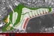 Implantação e corte – terreno de Capão Redondo. Concurso Habitação para Todos. CDHU. Edifícios de 4 pavimentos - Menção honrosa.<br />Autores do projeto  [equipe premiada]