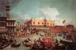 <i>Il ritorno del Bucintoro al molo nel giorno dell'ascensione</i>, Canaletto, 1734<br />Imagem divulgação  [Wikimedia Commons]