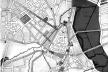 Sistema articulado de praças, parques e vias de comunicação. Destacamos as vias que irradiam do anel central proposto, bem como as praças, a área do Vale do Anhangabaú e da Várzea do Carmo [FREIRE, 1911]