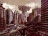 Esboço para o filme Metrópolis, de Fritz Lang, Alemanha, 1927.  [NEUMANN, Dietrich. Film architecture, USA, Prestel Art Press, 1999]