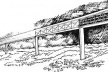 A ilustração acima mostra a possibilidade de utilizar uma tecnologia desenvolvida para a ponte rodo-ferroviária , transposta para uma situação de ponte em terreno firme, portanto com menos dificuldade de execução. Os pilares espaçados de 100 em 100 metros