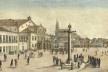 Vista do Rossio, atual Praça Tiradentes no Rio de Janeiro, com o pelourinho. Pintura de Jean-Baptiste Debret, 1834<br />Imagem divulgação