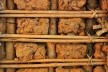 Parede interna de pau a pique, com amarração em couro substituindo a fibra vegetal, Bairro de Antônio Dias, Ouro Preto MG, 2016<br />Foto Elio Moroni Filho