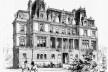 Hotel de M. de Yturbe, Avenue du Bois Boulogne, 1892, do arquiteto M. F. Gaillard, publicado em <i>La Semaine des Constructeurs</i>, 1892<br />Desenho de M. Toussaint  [<i>Renaissance italienne et architecture au XIXe siècle</i>, figura 141]