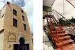 """Oikos Casa de Cultura, fachada principal com portal """"palladiano"""" e vista da escada, Salvador BA, 1994<br />Fotos divulgação  [Arquivo Paulo Ormindo de Azevedo]"""