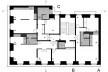 Edifício residencial em Fanqueiros, planta após reforma. Arquiteto José Adrião, 2007-2011. Legenda: 01. elevador; 02. entrada; 03. sala de estar; 04. quarto; 05. cozinha; 06. banheiro