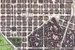 Plano de Ensanche, Idelfons Cerdà, 1859 (fragmento) [2C: Construcción De La Ciudad, copia color del plano original, 1972.]