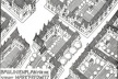 Desenvolvimento de um plano de alinhamento [Der Städtebau, 1909, prancha 36, apud PICCINATO, 1974,  p.96]