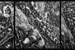 """""""O inferno de Bosch segundo Sebastião Salgado"""", tríptico 4, fragmentos da exposição fotográfica """"Gold – Mina de Ouro Serra Pelada""""<br />Fotomontagem de Abilio Guerra"""