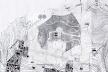 Fig. 6 - Planta anterior superposta à carta topográfica do bairro de Gracia, de 1889. Notar a solução das vias acompanhando as curvas de nível, por sua vez conectadas através de vias sinuosas para suavizar a declividade [Arquivo Histórico de Gracia, Barcelona]