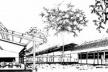 Perspectiva de conjunto, cortando sala de aula do Campus da Universidade do Amazonas, Manaus, 1970-1980, Arquiteto Severiano Porto<br />Desenho do arquiteto