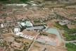 Vista aérea da maquete, en destaque o Centro de Hipismo<br />Imagem dos autores do projeto