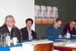 """Mesa de abertura: homenagem """"Centenário Lúcio Costa"""": Alberto Xavier, Hugo Segawa, Abílio Guerra e Guilherme Wisnik (6/10/02)<br />Foto Hugo Segawa"""