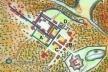 9. Provável arruamento inicial da cidade da Parahyba, indicado (nas cores azul e verde) em planta holandesa de c. 1640. (As linhas azuis identificam as primeiras ruas implantadas.) [Barlaeus, Rerum per Octennium in Brasilia..., Amsterdã, 1647]