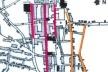 10. Planta de parte da cidade da Parahyba em 1855. As três ruas em vermelho integravam o plano de implantação da cidade. As duas em laranja (as atuais ruas Treze de Maio e Diogo Velho) foram abertas após 1640 [Planta da Cidade da Parahyba, levantada por Alfredo de Barros e Vasconcelos]