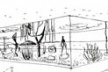 Museu de São Vicente, perspectiva do pátio-jardim de exposições ao ar livre