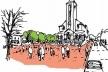 Croqui da Praça da Igreja Nossa Senhora de Santana<br />Imagem dos autores do projeto