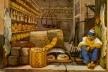 Aquarela de Debret retratando uma armazém de carne seca (chaque)