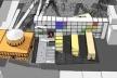 """Vista aérea: Acesso principal em rampa proposto entre a Biblioteca projetada por Asplund, primeiro plano, os três anexos e edifício """"lâmina"""" ao fundo. Em evidência, corte em diagonal dos anexos liberando visual da rua Odengatan para o prédio histórico"""