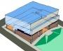 Figura 16 - Paço Municipal de Jahu. Esquema volumétrico externo mostrando a composição interna de pisos em níveis alternados [desenho do autor]