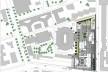 Nova Bocconi, implantação desenhada pelo escritório Grafton Architects, com os limites dos edifícios do entorno e a articulação com o edifício de planta elíptica de Ignazio e Jacopo Gardella. Desenho para o concurso de 1999-2000<br />Desenho Grafton Architects