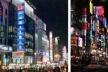 À esquerda, Nanjing Road, Xangai; à direita, Shinjuku, Tóquio.  [The Free Dictionary]