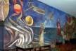 """Educandário Dom Silvério, detalhe do afresco """"A Criação do Mundo"""" de Emeric Marcier, no interior da antiga Capela São José, hoje utilizada como museu, Cataguases, 1954<br />Foto Marcia Poppe, 2003"""
