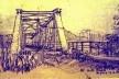 Desenho de Hans Broos da antiga ponte ferroviária de Blumenau, na época abandonada [Arquivo Hans Broos]